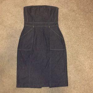 Express Denim Strapless Dress